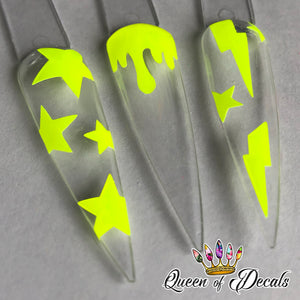 Neon/day glow 'DRIPS' vinyl nail art stickers