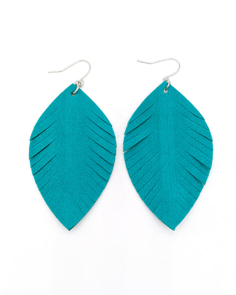 Teal Velvet Fringe Oval Leaf Earrings