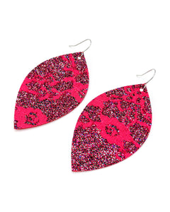 Hot Pink Lace Print Earrings