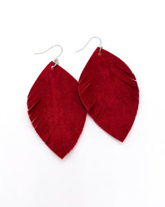 Romantic Red Velvet Fringe Oval Leaf Earrings