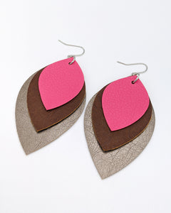 Hot Pink, Brown and Gunmetal Leather Earrings
