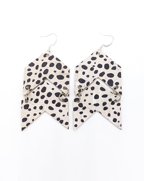 Spotted / Dalmatian Print Cork Chevron Arrow Earrings