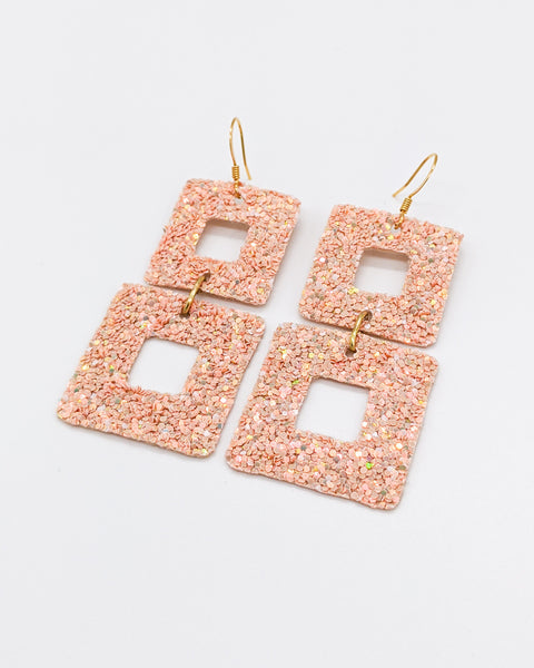 Blush Pink Chunky Glitter Earrings