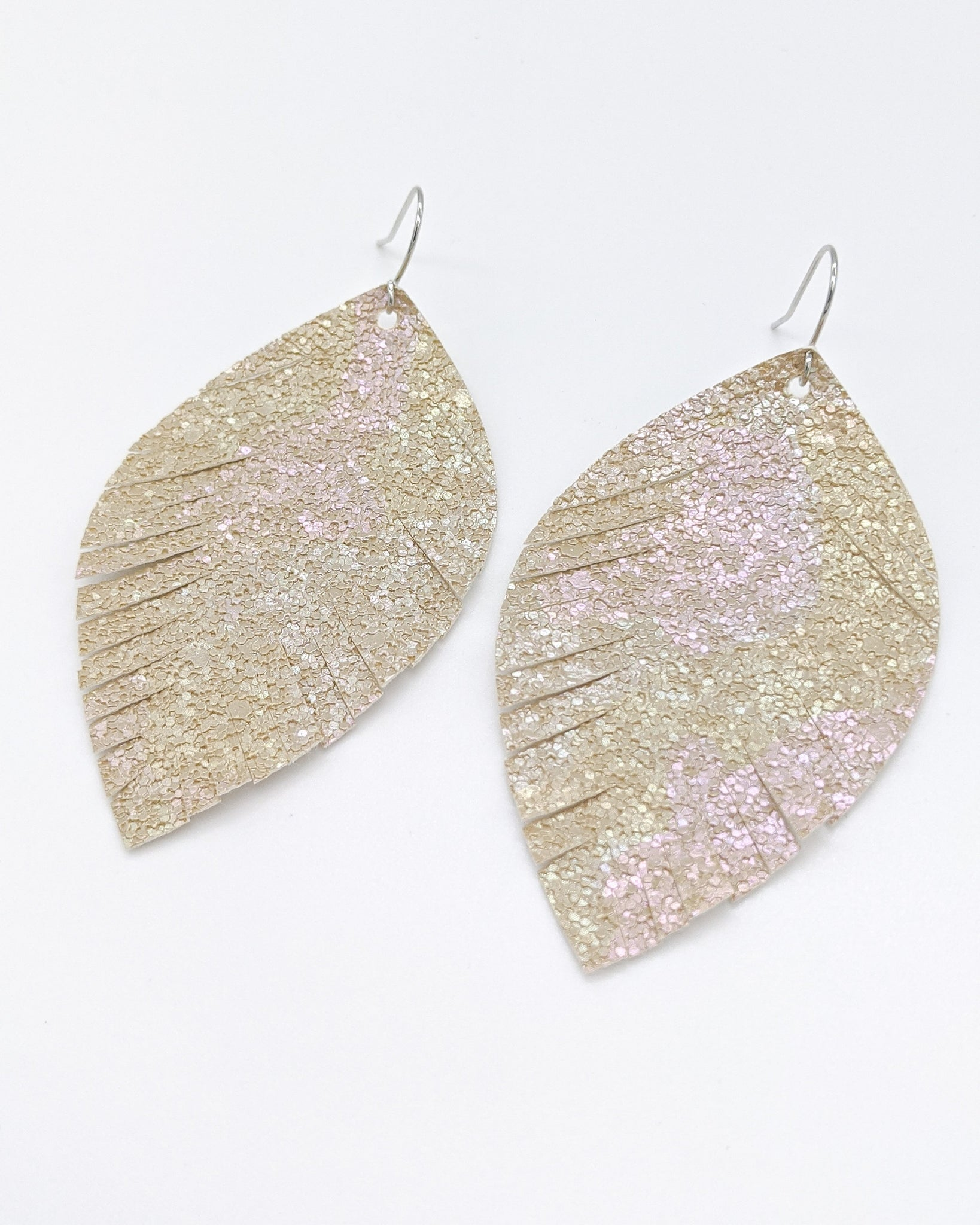 Beige Glitter Fringe Oval Leaf Earrings
