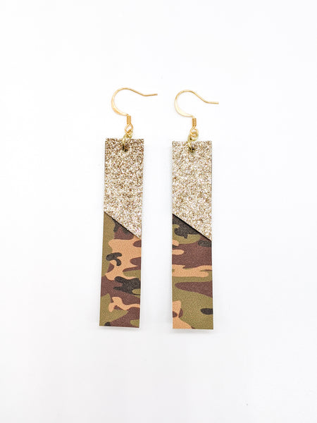 Camo Print & Champagne Gold Shimmer Bar Earrings