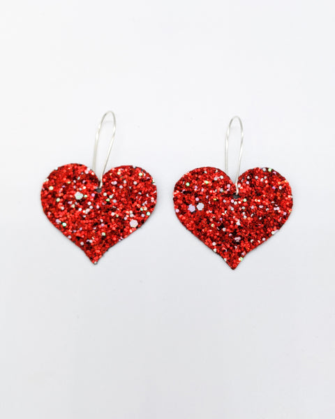 Vday Red Glitter Heart Drops