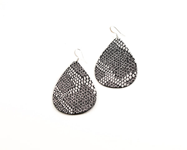 Silver Snakeskin Teardrop Earrings