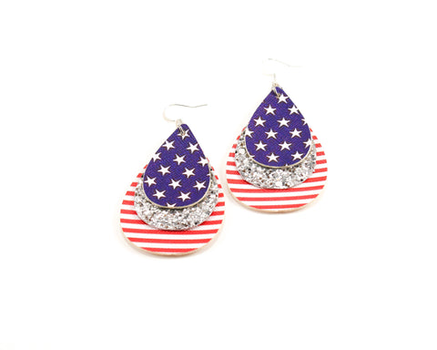 Red, White & Blue Layered Teardrop Earrings