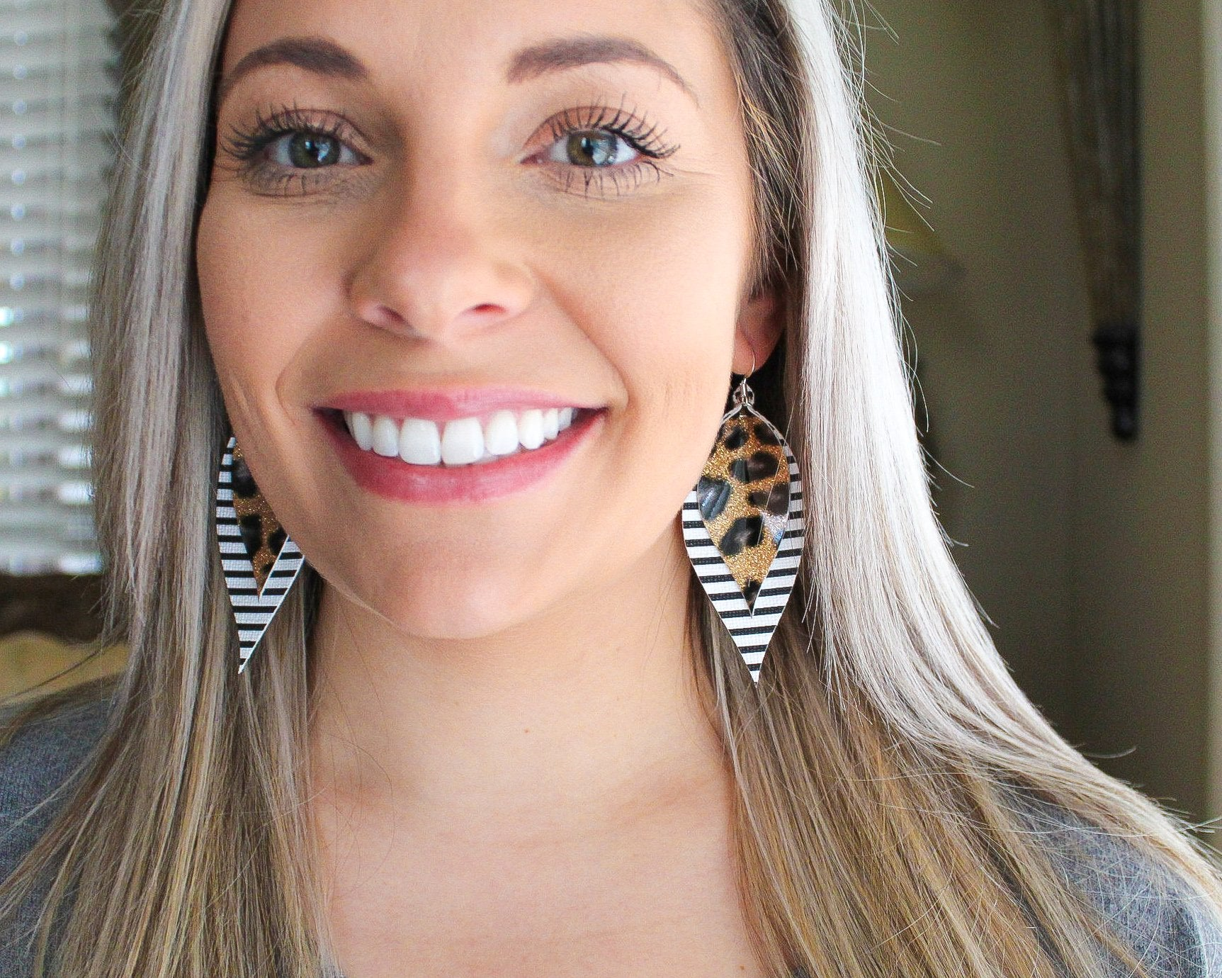 Stripes & Leopard Shimmer Pinched Feather Earrings
