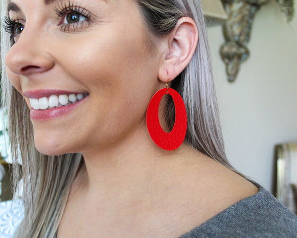 Lipstick Red Open Oval Earrings and Minis