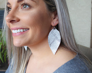 Silver & White Snakeskin Fringe Feather Earrings