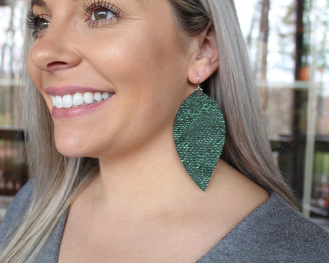 Hunter Green Snakeskin Fringe Feathers