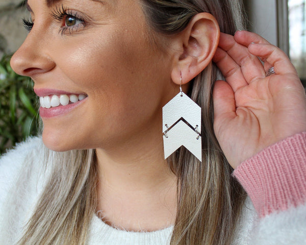 Pearl White Chevron Arrows Earrings