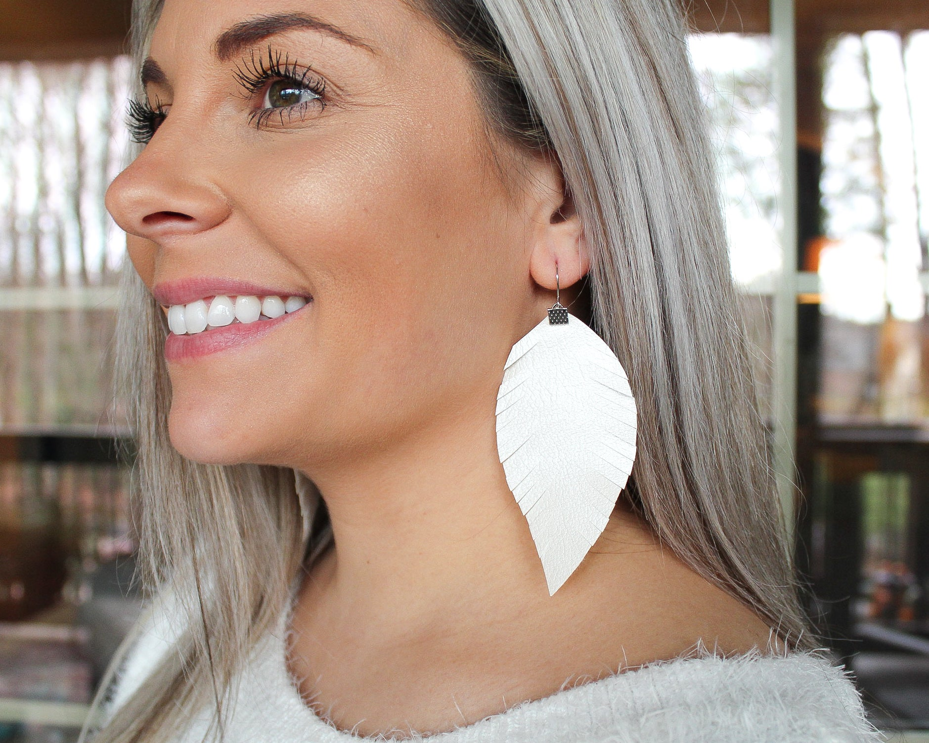 Pearl White Fringe Feather Earrings