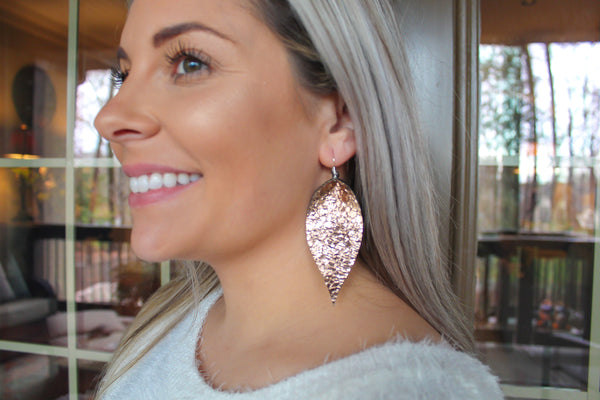 Crackle Rose Gold Pinched Feather Earrings
