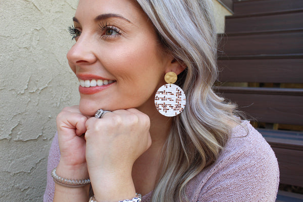 White with Bronze Foil Basket Weave Disc Earrings