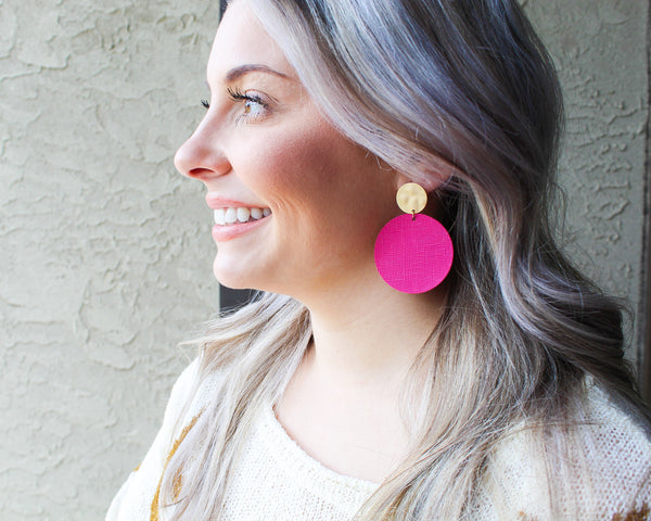 Hot Pink and Gold Disc Earrings