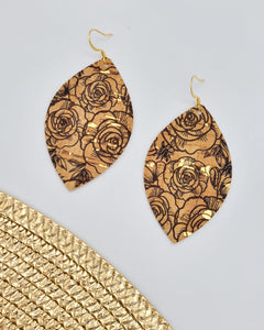 Black Floral Cork Leaf with Gold Flecks