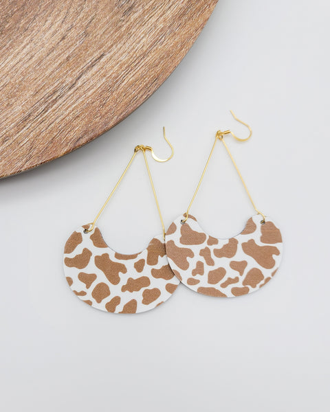 Brown Cow Print Leather Swing Earrings
