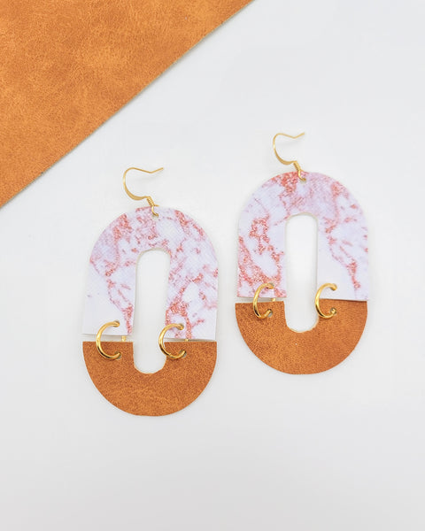 Marble Tan & White Cleo Leather Earrings