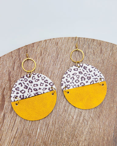 2-toned Leopard & Mustard Disc Drop Earrings