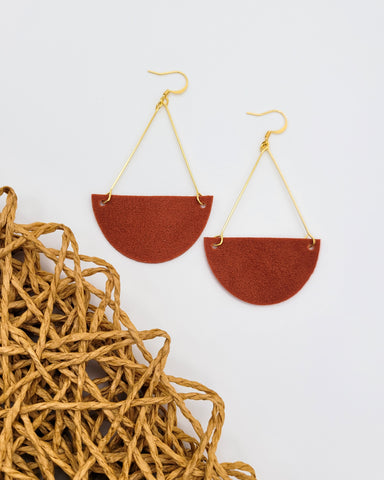 Rust Suede Triangle Drop Leather Earrings