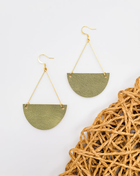 Olive Green Triangle Drop Earrings