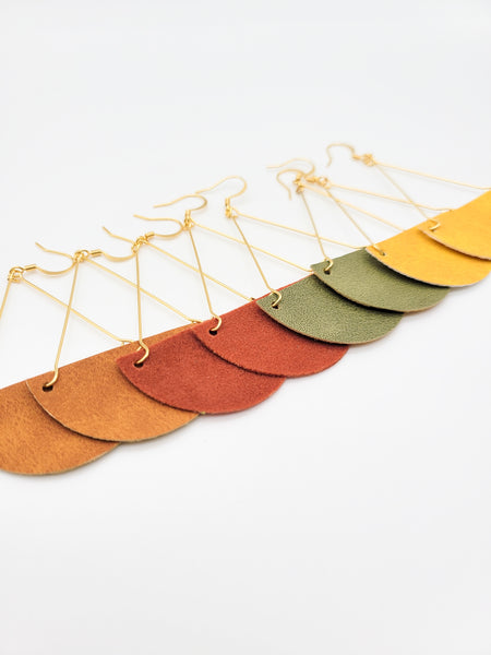 Mustard Triangle Drop Leather Earrings