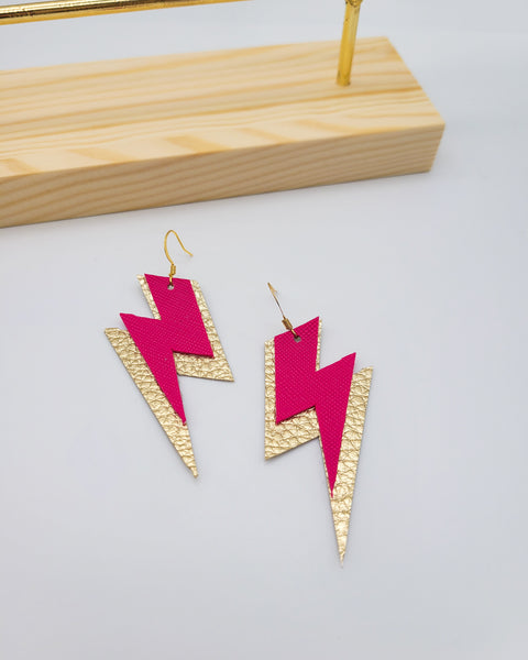 Hot Pink and Gold Lightning Bolt Earrings
