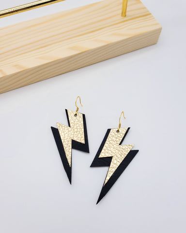 Gold and Black Lightning Bolt Earrings