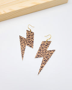 Camel Brown Cheetah Lightning Bolt Earrings