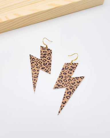 Camel Brown Cheetah Leopard Lightning Bolt Earrings