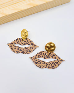 Camel Brown Cheetah Lip Earrings on Gold Posts