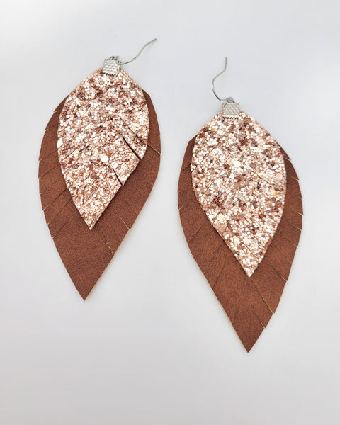 Brown and Rose Gold Glitter Fringe Feather Earrings