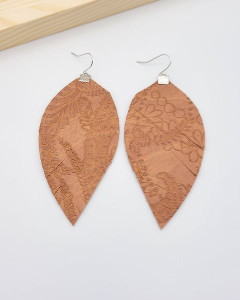 Textured Tan Leather Fringe Feather Earrings
