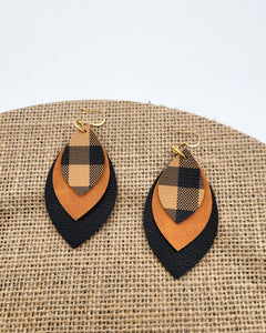 Tan Plaid, Tan Leather, and Black Earrings