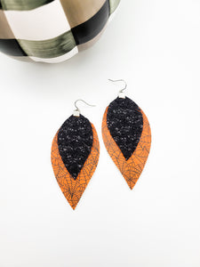 Orange and Black Glitter Spider Web Fringe Earrings