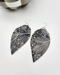 Black and White Fall Leaves Fringe Feather Earrings