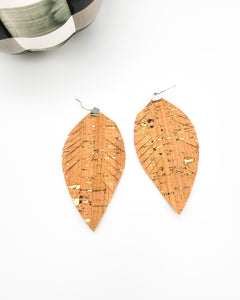 Cork Fring Feather Earrings with Gold Flecks