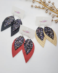 New Year Black Glitter Feather Earrings