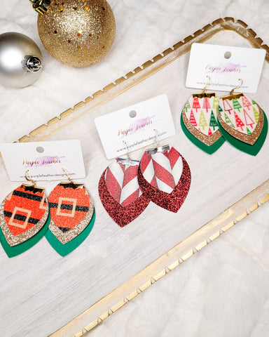 Glitter Christmas Earrings Santa's Belt, Candy Cane, Christmas Trees