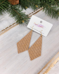 Tan Braided Long Diamond Earrings