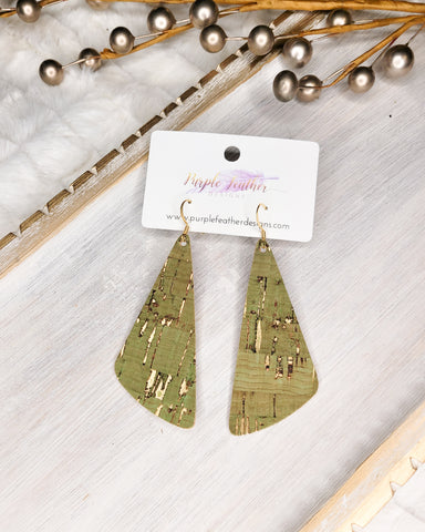 Olive Cork with Gold Flecks Wedge Earrings