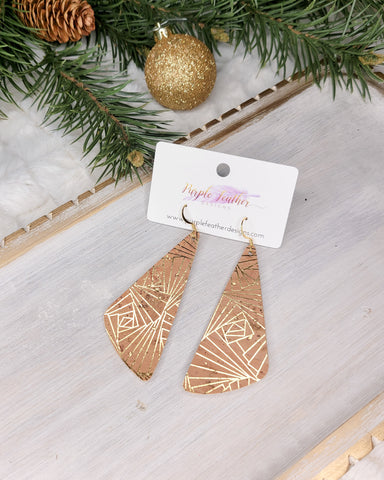 Metallic Gold Diamond Burst Cork Wedge Earrings