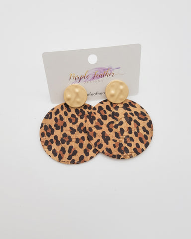 Baby Cheetah Cork Disc Earrings on Matte Gold Posts
