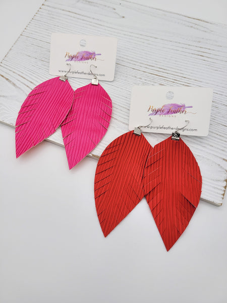 Red or Hot Pink Wave Feather earrings