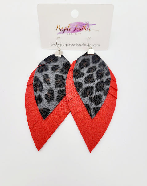 Grey Black Leopard over Double Sided Red