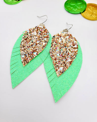 Shimmer Green and Chunky Gold Glitter Feather Earrings