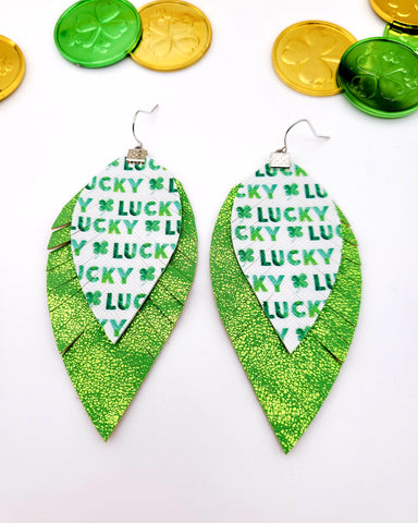 Lucky Shiny Green Fringe Feather Earrings