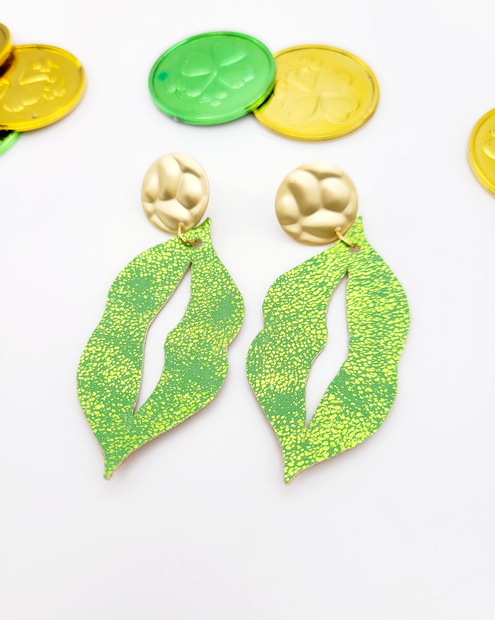 Bright Green Lip Earrings on Gold Posts